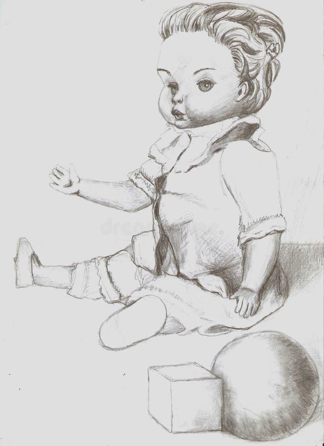 Eine alte Puppe stockbild