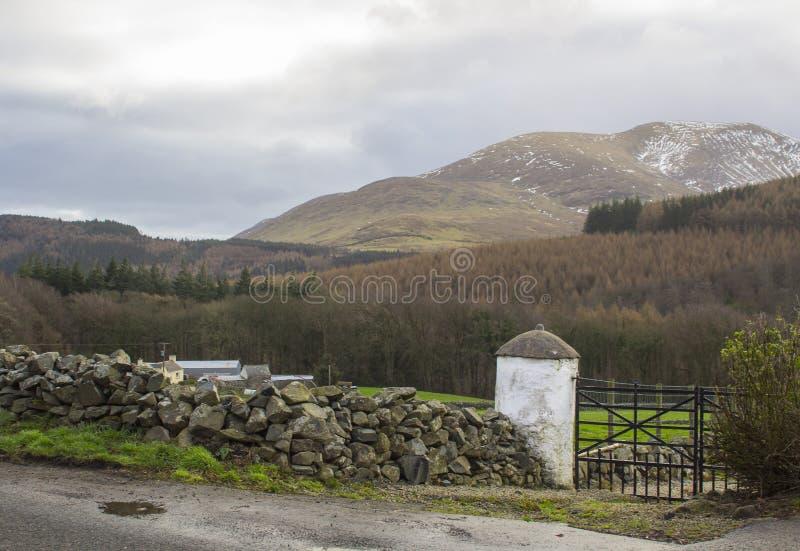 Eine Ansicht über den Schnee bedeckte Spitzen der Berge von Mourne in der Grafschaft unten Nordirland mit einer Kappe lizenzfreie stockfotos