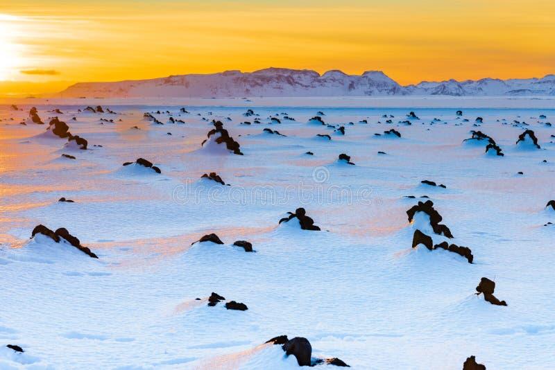 Eine Ansicht über ein schneebedecktes stein-gestreutes Feld in Island zu einem entfernten Berg bei Sonnenuntergang stockbilder