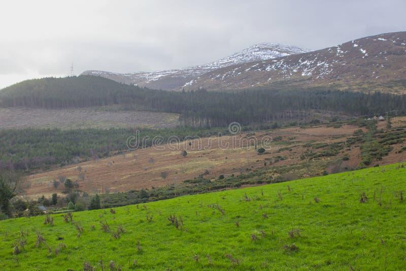 Eine Ansicht über eins von den vielen Schnee überstieg Hügel und Täler der Mourne-Berge in der Grafschaft unten in Nordirland auf lizenzfreies stockfoto