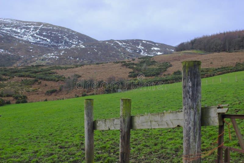 Eine Ansicht über eins von den vielen Schnee überstieg Hügel und Täler der Mourne-Berge in der Grafschaft unten in Nordirland auf stockfotografie