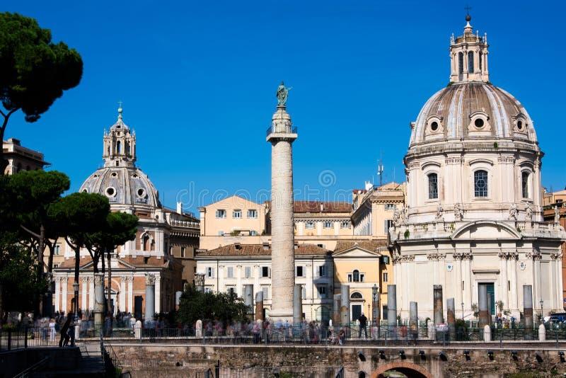 Eine Ansicht alter Stadt Roms vom des Trajans Forum, Rom, Italien stockfotografie