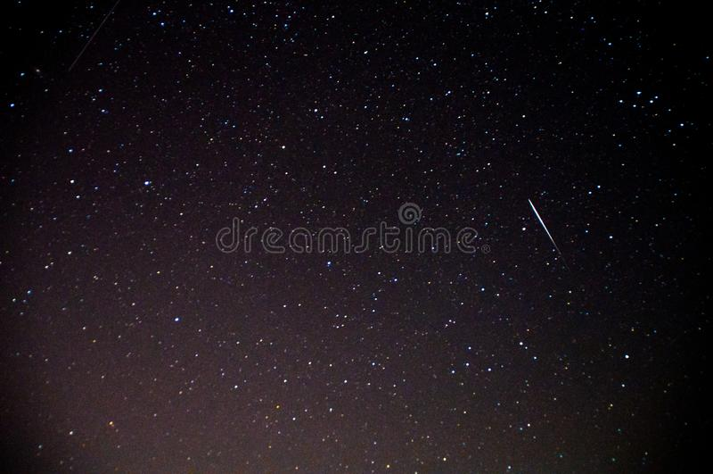 Eine Ansicht der Sterne der Milchstraße mit Bäume im Vordergrund Perseid-Meteorschauer lizenzfreies stockfoto