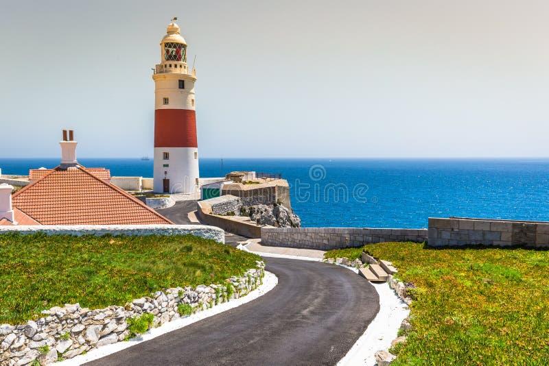 Eine Ansicht des Dreiheits-Leuchtturmes am Europa-Punkt, in Gibraltar, stockfotos