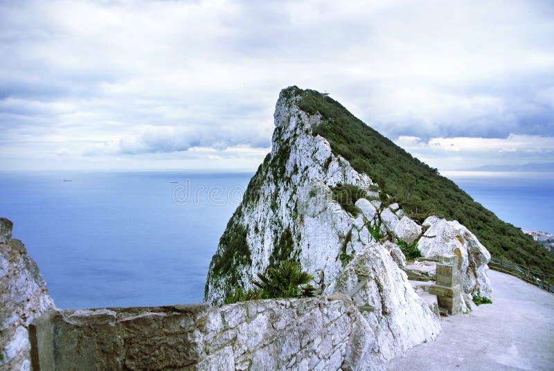 Eine Ansicht des Felsens von Gibraltar von einem Beobachtungsschreibtisch stockfotografie