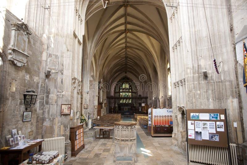Eine Ansicht des Innenraums und des Kirchenschiffs von Crowland-Abtei, Lincolnshire, lizenzfreies stockbild