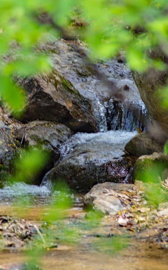 Eine Ansicht eines kleinen Gebirgswasserfalls stockfotografie