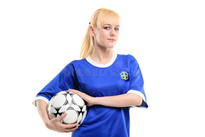 Eine Ansicht eines weiblichen Fußballspielers lizenzfreies stockbild