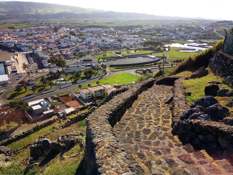 Eine Ansicht vom Berg in Terceira-Insel, Azoren, Portugal lizenzfreie stockfotos