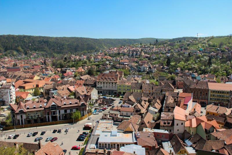 Eine Ansicht von der alten Zitadelle in Sighisoara, Rumänien lizenzfreie stockfotos