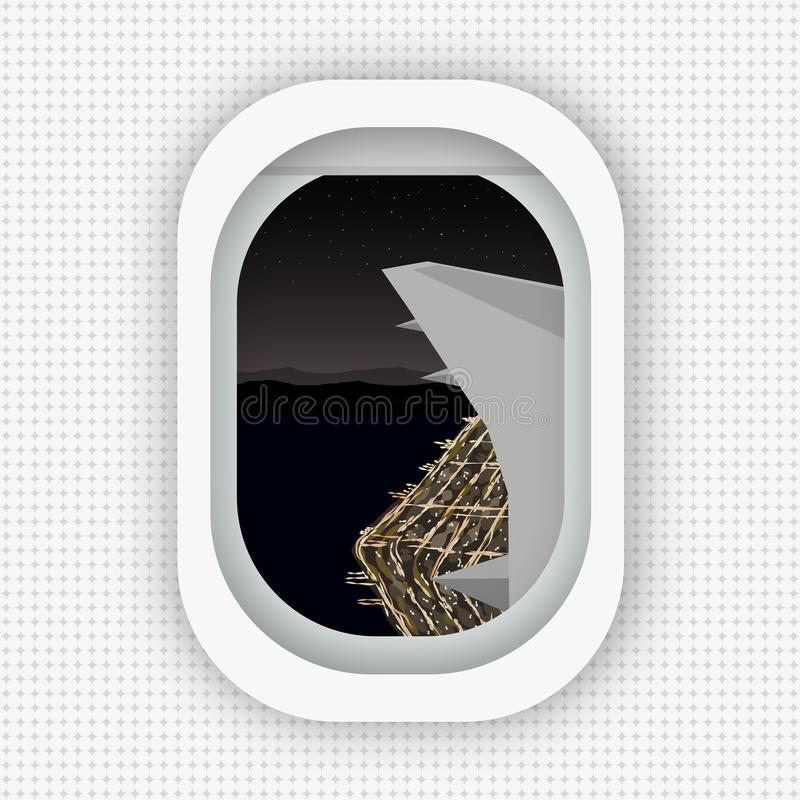 Eine Ansicht von einem Fenster eines Flugzeuges, das über das Ufer der Nachtstadt fliegt Flache Art stock abbildung