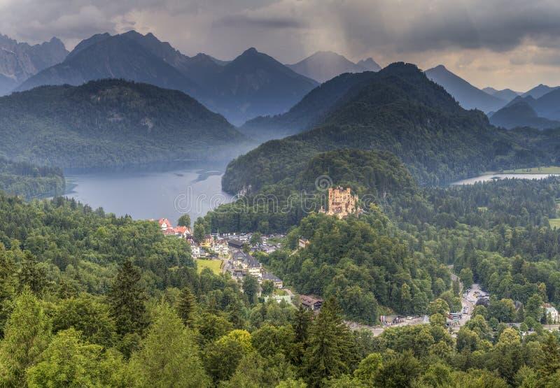 Eine Ansicht von Hohenschwangau-Schloss, Schwangau, Deutschland lizenzfreie stockfotos