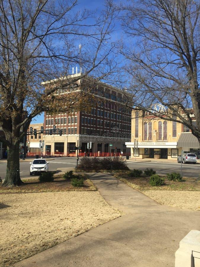 Eine Ansicht von im Stadtzentrum gelegenem Paris Texas stockfoto