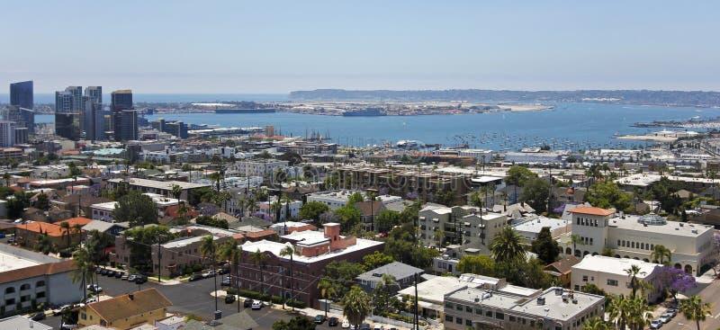 Eine Ansicht von San Diego Bay vom Banker-Hügel, San Diego lizenzfreie stockfotografie