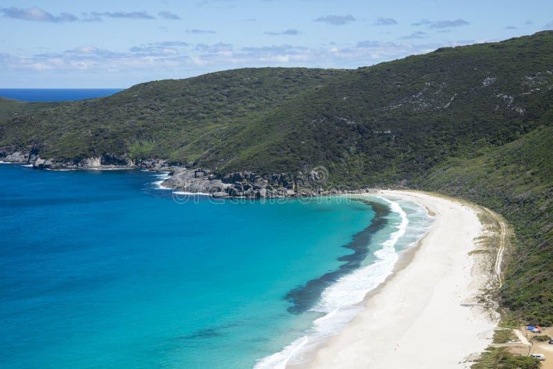 Eine Ansicht von Shelley Beach in Nationalpark Westkap Howe nahe Albanien lizenzfreies stockbild