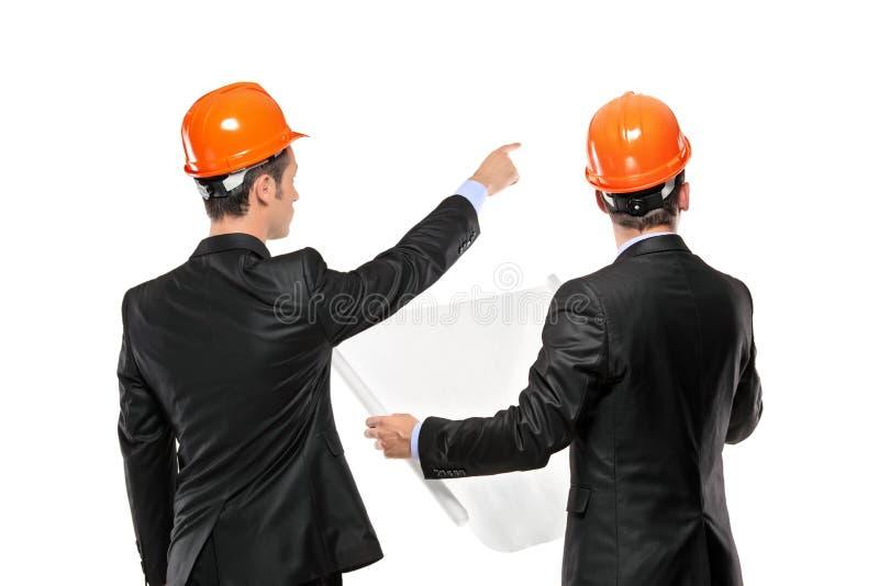 Eine Ansicht von Vorarbeiter in einem Klageschauen stockbilder