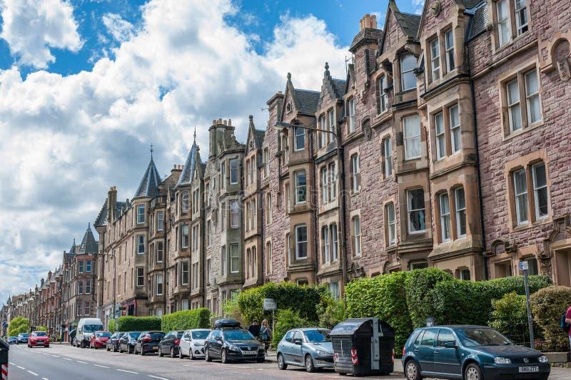 Eine Ansicht zu den Straßen von Marchmont-Bereich von Edinburgh lizenzfreies stockbild