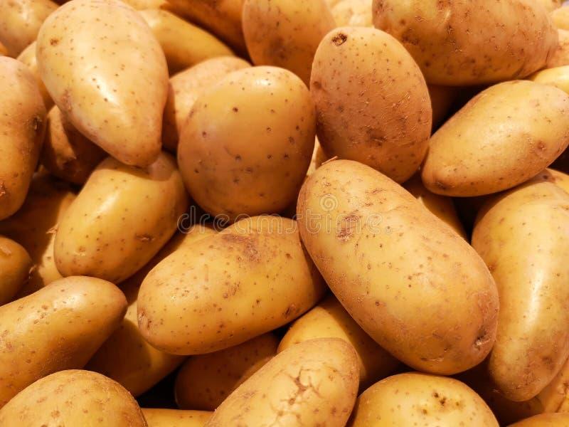 Eine Anzeige von Bereit-zukaufkartoffeln, gesäubert und an einem lokalen thailändischen Markt gestapelt lizenzfreie stockfotos