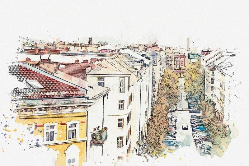 Eine Aquarellskizze oder eine Illustration Ansicht vom Höhepunkt zur Straße mit Gebäuden, Straße und parkendes Auto auf ihr herei lizenzfreie abbildung