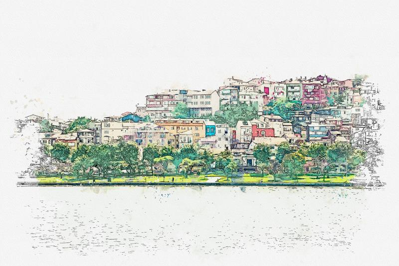 Eine Aquarellskizze oder eine Illustration einer schönen Ansicht der traditionellen Architektur in Istanbul stock abbildung