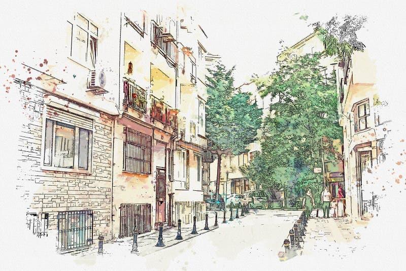 Eine Aquarellskizze oder eine Illustration einer traditionellen Straße in Istanbul vektor abbildung