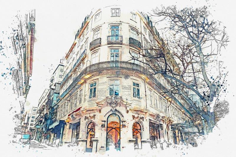 Eine Aquarellskizze oder eine Illustration Traditionelle europäische Architektur Die Ecke eines typischen Gebäudes in Porto herei vektor abbildung