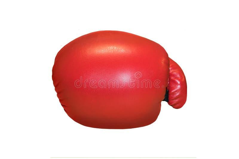 Eine Atelieraufnahme eines roten Boxhandschuhs lokalisiert lizenzfreie stockbilder