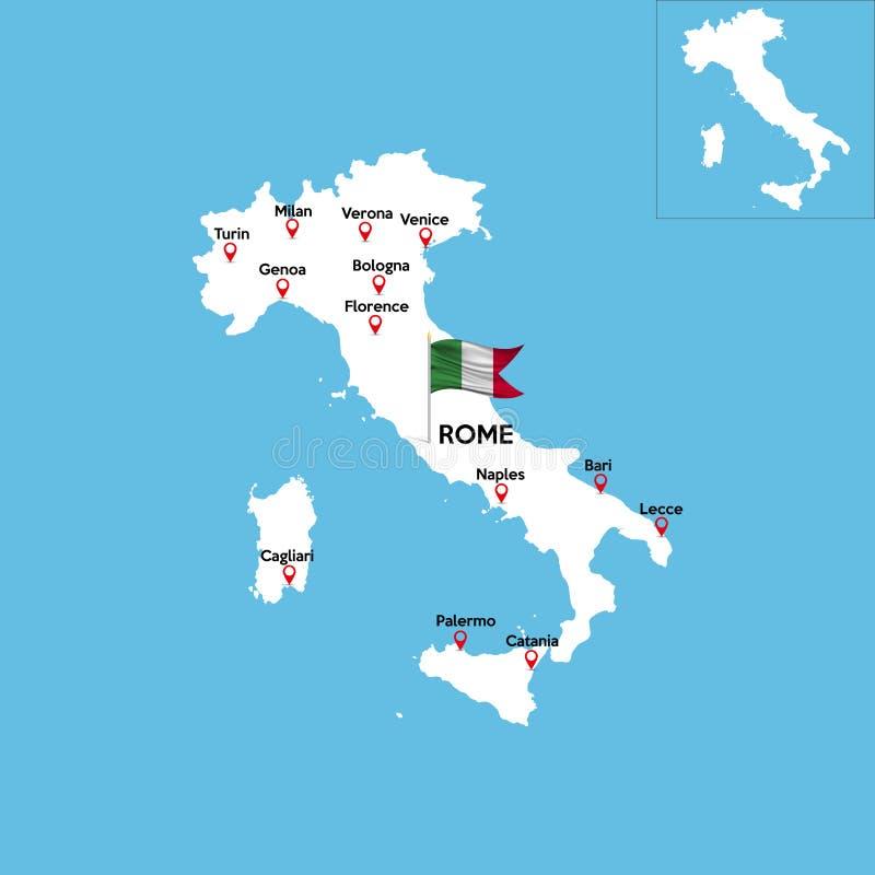 Eine ausführliche Karte von Italien stock abbildung