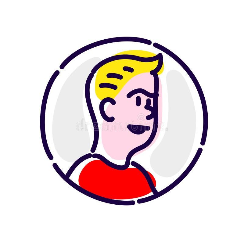 Eine Avataraillustration eines jungen man's Charakters in der Konturntechnik Vektor Flache Art Illustration für Plakat, Druck u lizenzfreie abbildung