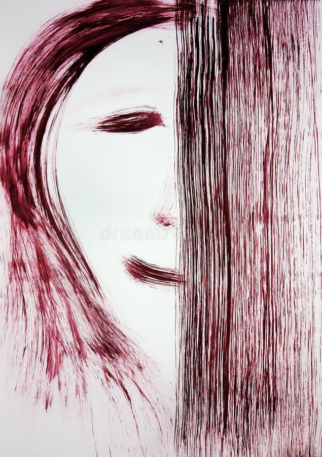 Eine Bürste zeichnet das Gesicht einer Person, Hälfte des Gesichtes wird bedeckt mit einem Rechteck unentschlossenheit lizenzfreies stockbild