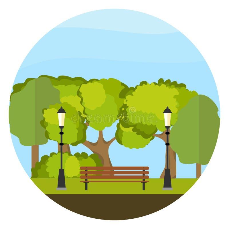 Eine Bank im Park, eine Bank umgeben durch Bäume vektor abbildung