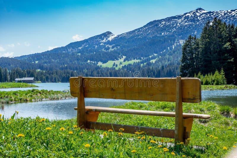 Eine Bank mit Ansicht der Schweizer Alpen auf dem Ufer von einem See im Sommer lizenzfreie stockbilder