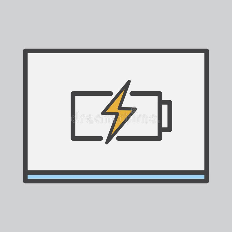 Eine Batterienachladenikone auf einem Papier lizenzfreie abbildung