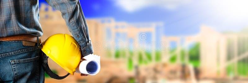 Eine Baustelle Bauarbeiter-/Vorarbeiter-At A lizenzfreies stockfoto