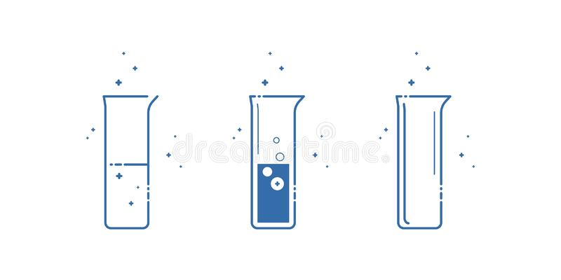 Eine Becherflasche Ikonen eingestellt Ausrüstung für chemisches Labor Zeile Auslegung Vektor vektor abbildung