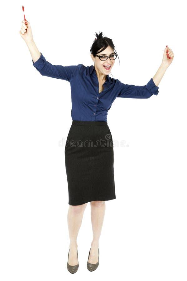 Zujubelnde Geschäftsfrau lizenzfreie stockfotografie