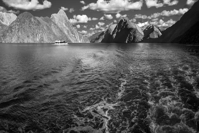 Eine Bootsfahrt morgens bei Milford Sound in Schwarzweiss lizenzfreie stockfotografie