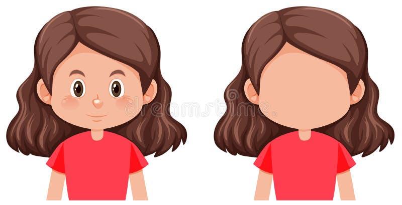 Eine brunette Haarweibliche figur stock abbildung