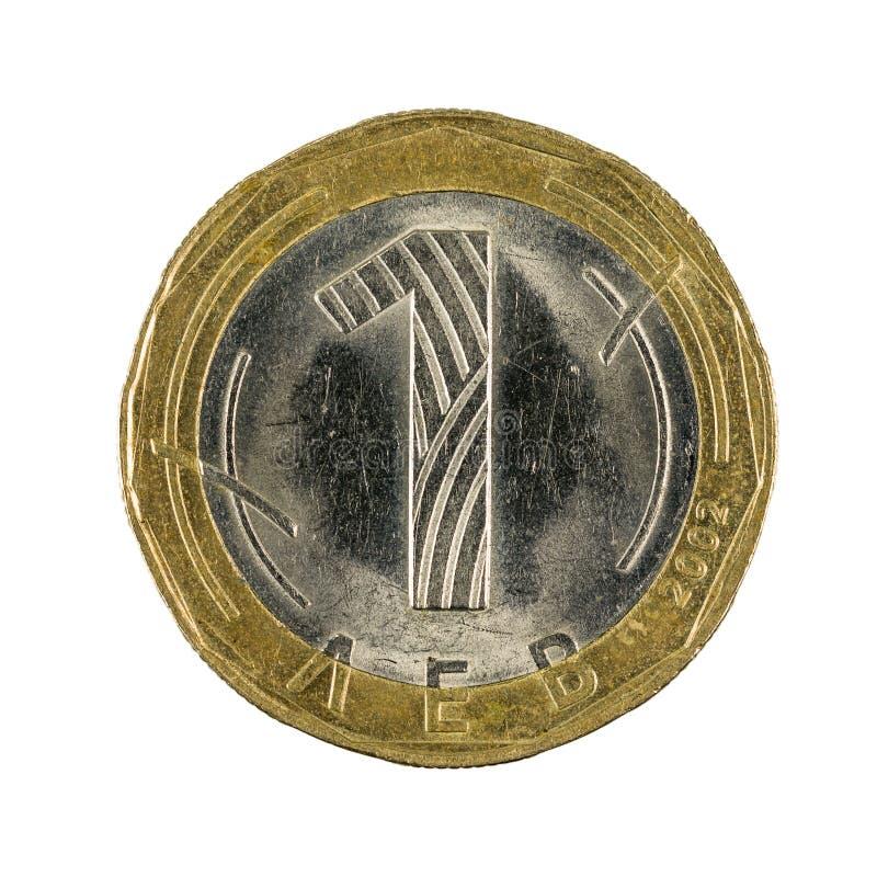 Eine bulgarische lew Münze 2002 lokalisiert stockfoto