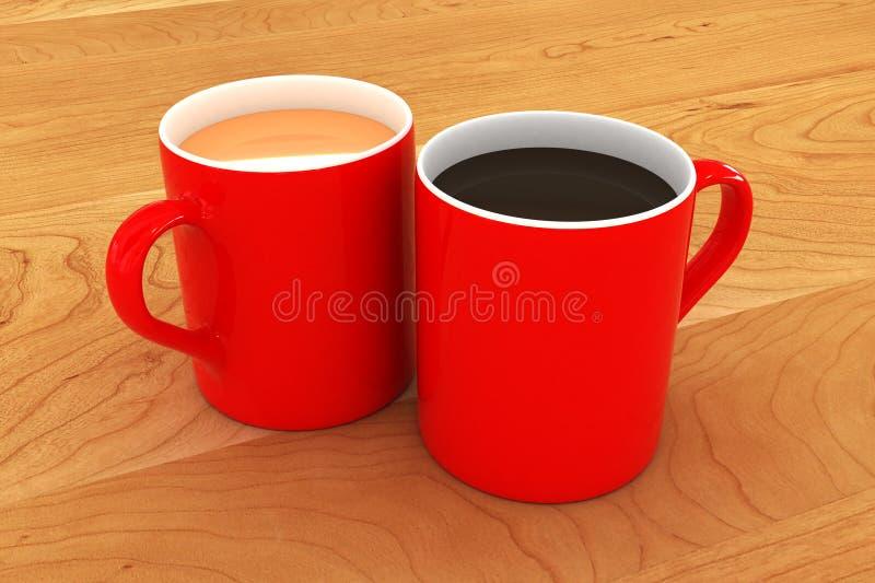 Eine bunte Tee-und Kaffeetasse-Illustration lizenzfreie abbildung