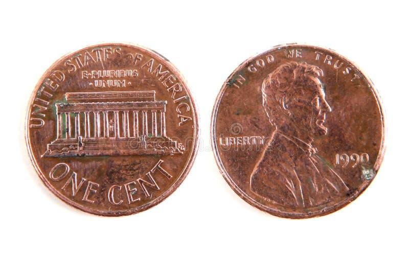Eine Centdollarmünze lizenzfreie stockbilder