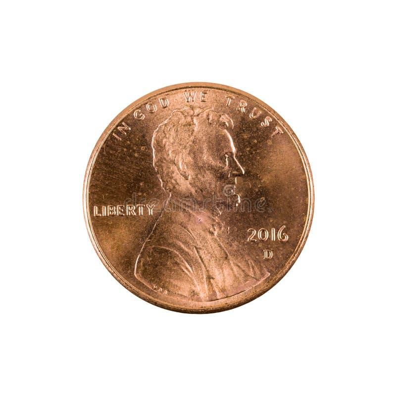 Eine Centmünze 2016 Vereinigter Staaten lokalisiert lizenzfreie stockbilder