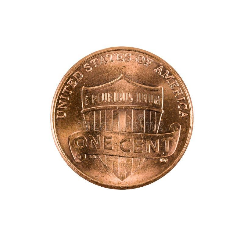 Eine Centmünze Vereinigter Staaten, Penny 2016 lokalisiert stockfoto