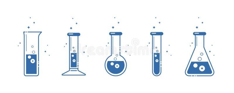 Eine chemische Flasche Ikonen eingestellt Ausrüstung für chemisches Labor Zeile Auslegung Vektor vektor abbildung