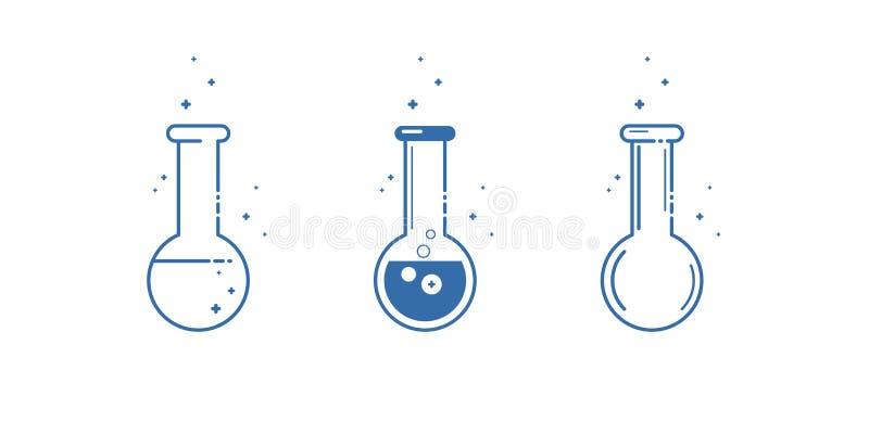 Eine chemische Flasche Ikonen eingestellt Ausrüstung für chemisches Labor Zeile Auslegung Vektor lizenzfreie abbildung