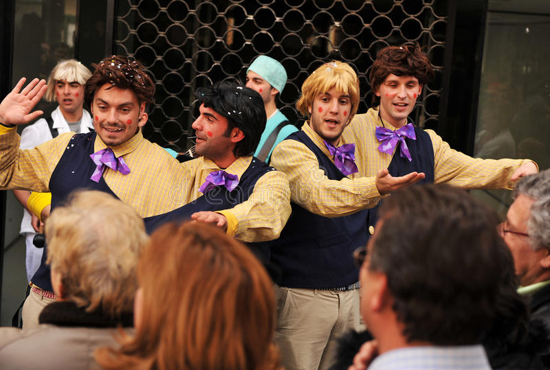 Eine Chorleistung der Straße, Karneval von Cadiz, Andalusien, Spaina lizenzfreies stockfoto