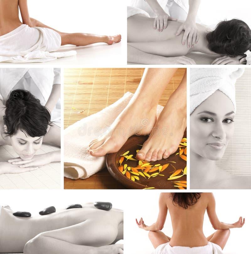 Eine Collage der Badekurortbehandlungbilder mit jungen Frauen stockbilder