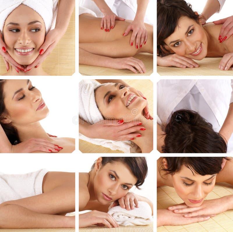 Eine Collage der Badekurortbehandlungbilder mit jungen Frauen lizenzfreies stockbild