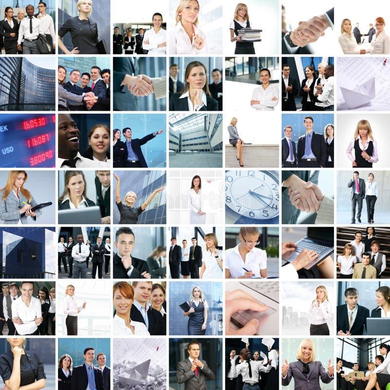 Eine Collage der Geschäftsbilder mit jungen Leuten stockfotografie