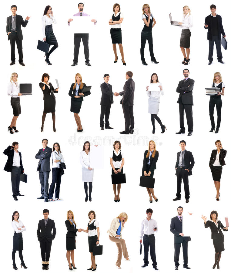 Eine Collage der Geschäftsleute in der formalen Kleidung stockfotografie